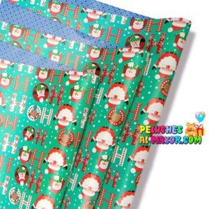 Papel Regalo Navidad Turquesa HO-HO-HO x20 Pliegos Doble
