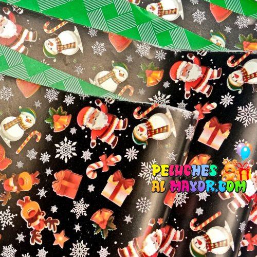Papel Regalo Navidad Negro Santa x20 Pliegos Doble Cara