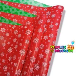 Papel Regalo Navidad Rojo Copo de Nieve x20 Pliegos Doble Cara
