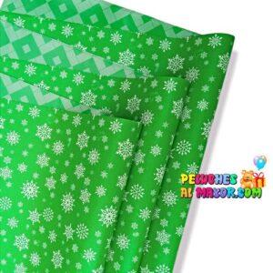 Papel Regalo Navidad Verde Copo Nieve x 20 Pliegos Doble Cara