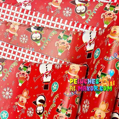 Papel Regalo Navidad Reno Rojo x20 Pliegos Doble Cara